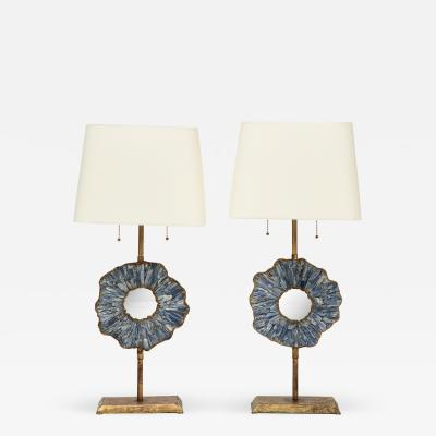 A Pair of Gilt Iron Table Lamps with Convex Mirrors