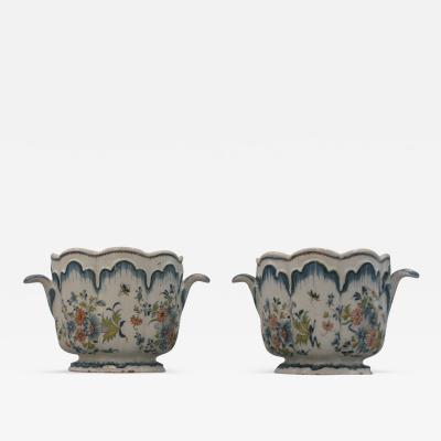 A Pair of Glazed Earthenware Cachepots
