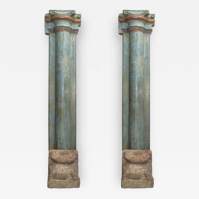 A Pair of Half Round Wood Columns with Stone Bases Sold in Pairs