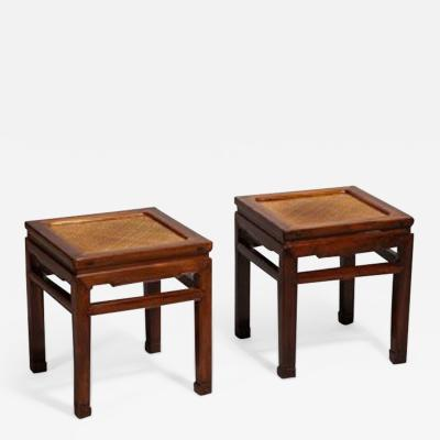 A Pair of Hardwood Chinese Square Leg Stools