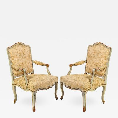 A Pair of Italian 18th Century Painted Armchairs
