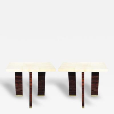 A Pair of Italian Modern Parchment and Ebony de Macassar Console