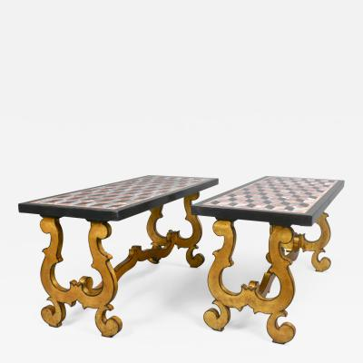 A Pair of Italian Neo Baroque Giltwood Coffee Tables with Marble Tops