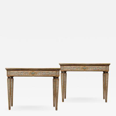 A Pair of Italian Neoclassical Style Polychrome Console Tables with Marble Tops
