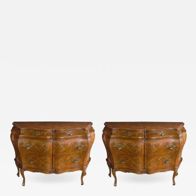 A Pair of Italian Rococo Style Bombe Form Chests of Drawers with Marquetry