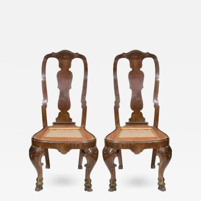A Pair of Italian Rococo Walnut Side Chairs c 1730 1750