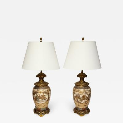 A Pair of Japanese Bronze Mounted Satsuma Table Lamps