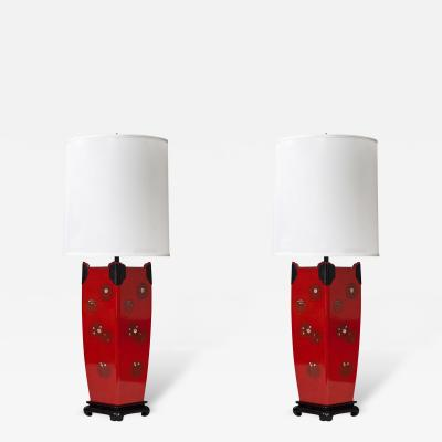 A Pair of Japanese Mother of Pearl and Red Lacquer Lamps