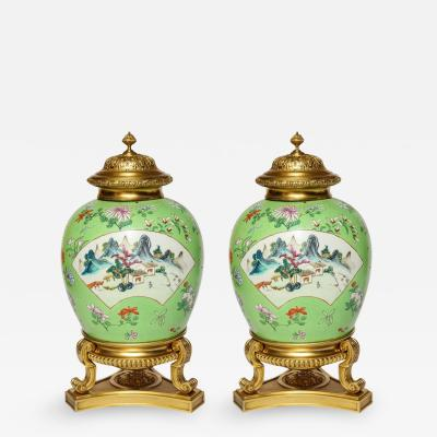 A Pair of Japanese Style Bronze Mounted Temple Jars