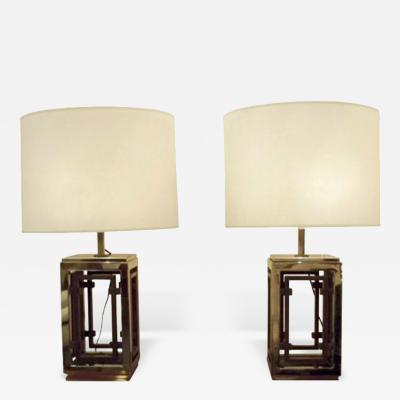 A Pair of Large Table Lamps in Chrome and Brass