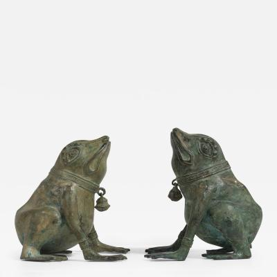 A Pair of Late 20th Century Bronze Frogs