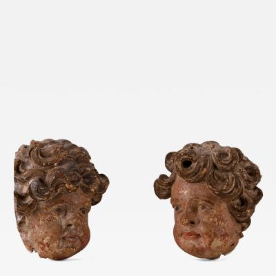 A Pair of Late Baroque Carved Cherub Heads French ca 1720