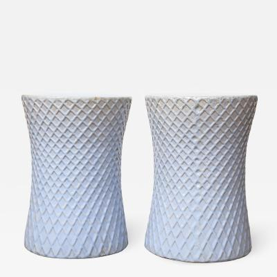 A Pair of Light Blue Garden Stools
