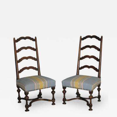 A Pair of Louis XIII Ladder Back Walnut Chairs