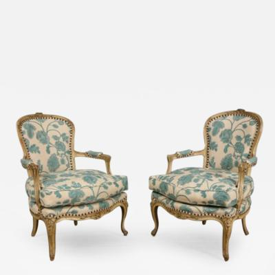 A Pair of Louis XV Style Grey Painted Bergeres