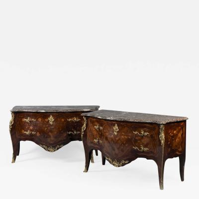 A Pair of Louis XV Style Marquetry Commodes