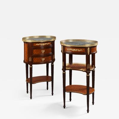 A Pair of Louis XVI Style Parquetry Gueridons