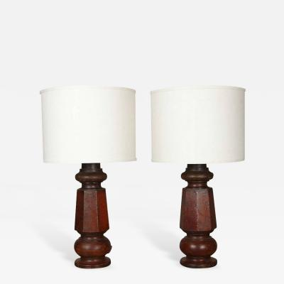 A Pair of Mahogany Lamps