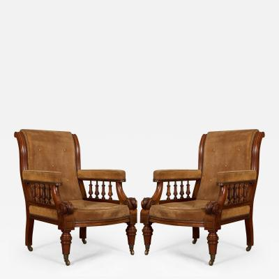 A Pair of Mahogany Library Armchairs of Interesting Design