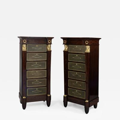 A Pair of Mahogany Six Drawer Wellington Chests