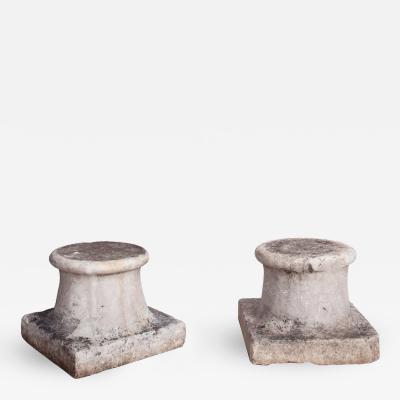 A Pair of Marble Capitals with Square Base