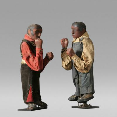 A Pair of Mechanical Boxing Figures c 1930 1940