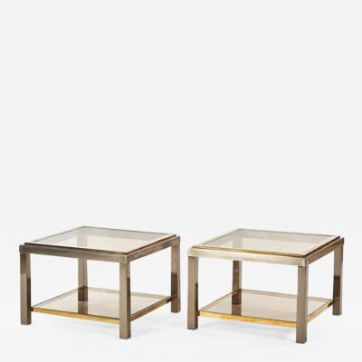 A Pair of Metal and Glass Tables
