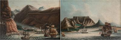 A Pair of Miniature Views of Port Towns Chinese Artist Canton c 1810 20