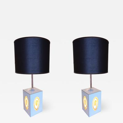 A Pair of Mounted Agatha Table Lamps Italy 1960