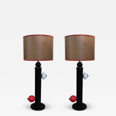 A Pair of Murano Table Lamps Italy 1970