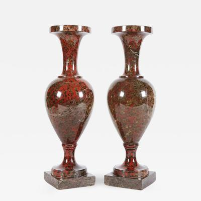 A Pair of Neoclassical Jasper Vases Possibly Russian or Baltic 19th Century