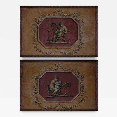 A Pair of Neoclassical Sopraporta Panels Oil on canvas Italian ca 1800