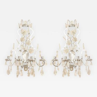 A Pair of New Four Light Rock Crystal Sconces