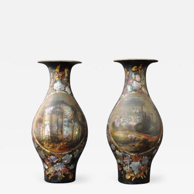 A Pair of Papier Mache Vases