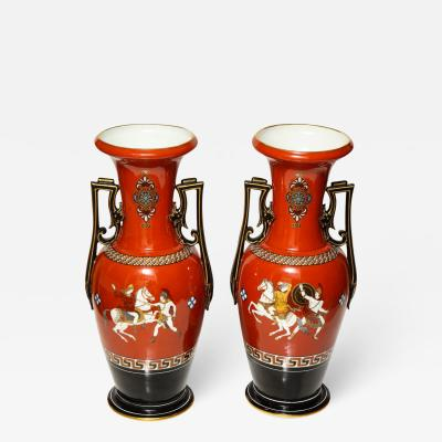 A Pair of Paris Porcelain Neo Grec Vases