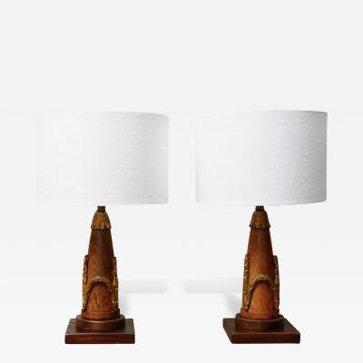 A Pair of Petite Empire Lamps in Oak with Gilt Leaf and Berry Mounts