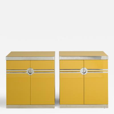 A Pair of Pierre Cardin Two Door Lacquered Side Cabinets 1970s