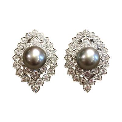 A Pair of Platinum Diamond and Tahitian Pearl Earrings
