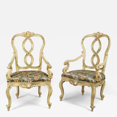 A Pair of Polychrome Painted Wood Armchairs