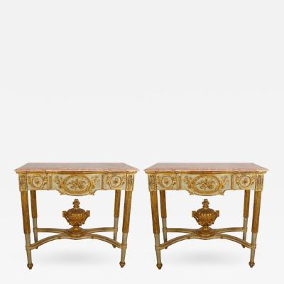 A Pair of Portuguese Parcel Gilt and Polychrome Painted Console Tables