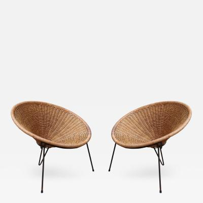 A Pair of Rattan Armchairs Italy 1950