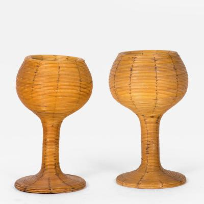 A Pair of Rattan Goblet Vases