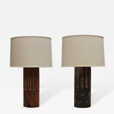 A Pair of Raw Wood Table Column Lamps with Custom Shade