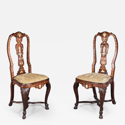 A Pair of Rococo Bone Inlaid Tall Back Chairs Italian ca 1750
