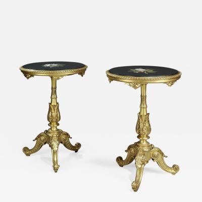 A Pair of Rococo Style Giltwood Gueridons