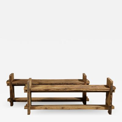 A Pair of Rustic Oak Benches