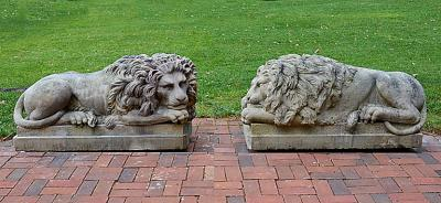 A Pair of Sandstone Lions