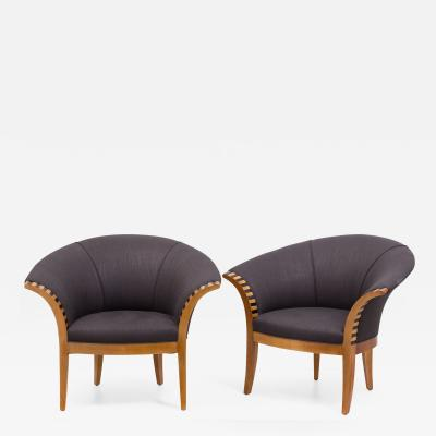 A Pair of Scooped Back Linen Upholstered Armchairs 1990s