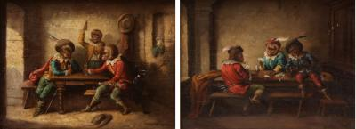 A Pair of Singerie Oil on Canvas