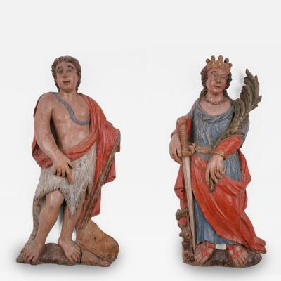 A Pair of Spanish Colonial Carvings of Saints Colombia ca 1800